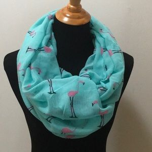 Pink Flamingo Print on Aqua Large Infinity scarf